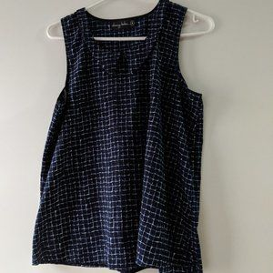 Navy Blue and White Checkered Cherry Bobin Top